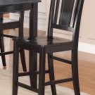 "SET OF 4 COUNTER HEIGHT CHAIRS WITH WOOD SEAT 24"" SEAT HEIGHT BAR STOOL IN BLACK, SKU: BU-WC-BLK"