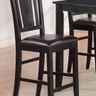 "SET OF 2 COUNTER HEIGHT CHAIRS WITH LEATHER SEAT, 24"" SEAT HEIGHT BAR STOOL IN BLACK, SKU: BU-LC-BLK"