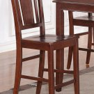 "ONE COUNTER HEIGHT CHAIR WITH PLAIN WOOD SEAT 24"" SEAT HEIGHT BAR STOOL IN MAHOGANY, SKU: BU-WC-MAH"