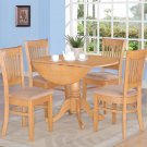 3PC Dublin-2 dinette Round table w/2 Drop Leaves + 2 Upholstered Chairs in OAK. SKU#: DV3-OAK-C