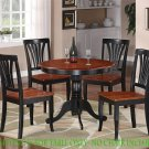 "ANTIQUE ROUND DINETTE KITCHEN TABLE IN BLACK & CHERRY 36"" DIAMETER - NO CHAIR, SKU#: ANT-CHR-T"