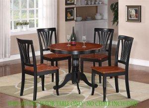 "ANTIQUE ROUND DINETTE KITCHEN TABLE IN BLACK & CHERRY 36"" DIAMETER - NO CHAIR, SKU#: ANT-CHR-T"
