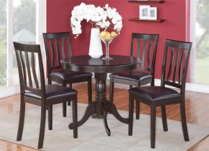 5PC Antique Round Table with 4 Leather Upholstered Chairs in Cappuccino. SKU: ANT5-CAP-LC