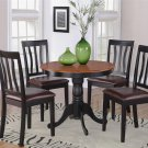 "5PC Antique 36"" Round Table with 4 Leather Upholstery Chairs in Black & Cherry. SKU: ANT5-BLK-LC"
