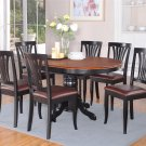 7pc Avon Dinette Kitchen Dining Set Oval Table + 6 Leather Seat Chairs in Black & Cherry AV7-BLK-LC