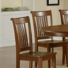 Set of 6 dinette kitchen dining chairs, plain wood seat in saddle brown, SKU: PC-SBR-W
