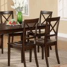 Set of 2 Boston Dinette Dining Chairs w/ Wooden Seat in Cappuccino Finish, SKU: BC-CAP-W