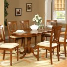 9PC Plainville Oval Dining Table with 8 Upholstery Chairs in Saddle Brown. SKU: PLAI9-SBR-C