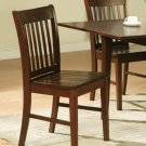 Set of 2 Norfolk dinette kitchen dining chairs with wooden seat in mahogany finish. SKU: NFC-MAH-W