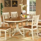 7PC Plainville Oval Dining Table w/6 Wood Seat Chairs Buttermilk & Cherry SKU: PLAI7-WHI-W
