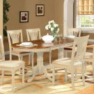 9PC Plainville Oval Dining Table w/6 Padded Chairs Buttermilk & Saddle Brown. SKU: PL9-WHI-C