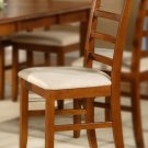 Set of 2 Parfait dinette kitchen dining chairs with microfiber upholstered seat in saddle brown