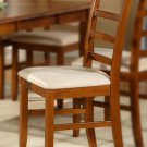 Set of 6 Parfait dinette kitchen dining chairs with microfiber upholstered seat in saddle brown