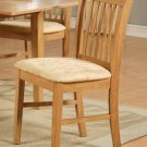 Set of 2 Norfolk dinette kitchen dining chairs with cushion seat in light oak finish. SKU: NFC-OAK-C