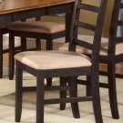 Set of 2 Parfait dinette dining chairs with microfiber upholstered seat in black & cherry brown