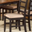 Set of 8 Parfait dinette dining chairs with microfiber upholstered seat in black & cherry brown