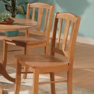 Set of 2 Dublin Dinette Kitchen Dining Chairs with Wooden Seat in Light Oak, SKU: DC-OAK-W