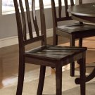 Set of 2 Antique Dinette Dining Chairs with plain wood Seat in Cappuccino, SKU: AC-CAP-W