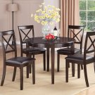 "5PC 42"" Round Boston Dinette Kitchen Dining Table & 4 Leather Seat Chairs Cappuccino. SKU: B5-CAP-LC"