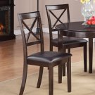 Set of 2 Boston Dining Chairs with Faux Leather Seat in Cappuccino, SKU: BC-CAP-LC