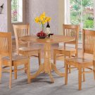 5PC dinette kitchen round table drop leaf + 4 plain wood seat chairs in OAK. SKU: DV5-OAK-W