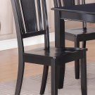 Set of 2 Dudley Kitchen Dining Chairs with Plain Wood Seat in Black, SKU: DU-2WC-BLK