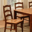 Set of 2 Henley kitchen dining chairs with wooden seat in Espresso & Cinamon, SKU: HC-2BRN-W