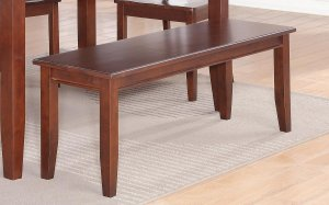 "Dudley Dinette Kitchen Dining Bench in Mahogany L52""xD16""xH18"". SKU: DU-B-MAH"