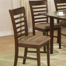 Set of 2 Milan ladder back kitchen dining chairs with upholstered seat in Mahogany, SKU: MC-MAH-C