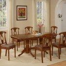 7pc Napoleon Dining Set, Table + 6 Upholstered Chairs cherry brown SKU# NANA7-SBR-C