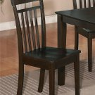 Set of 2 Capri kitchen dining chairs with plain wood seat in Cappuccino. SKU: EWCDC-CAP-W2