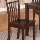 Set of 2 Capri dinette dining chairs with plain wood seat in Mahogany. SKU: EWCDC-MAH-W2