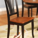 Set of 2 Avon dinette dining chairs with plain wood seat in Black & cherry brown, SKU: AVC-BLK-W2