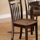 Set of 2 Capri kitchen dining chairs with microfiber upholstered in Cappuccino. SKU: EWCDC-CAP-C2
