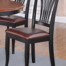 Set of 2 Avon Dinette Dining Chairs with Leather Seat in Black Finish, SKU: AVC-BLK-LC2