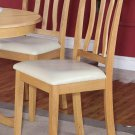 Set of 2 Kitchen Dining Chairs with Leather Seat in Oak Finish, SKU: AC-OAK-LC2