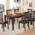 7-PC Nicoli Rectangular Dining Table & 6 Leather Seat Chairs in Black & Cherry Brown, SKU: N7-BLK-LC