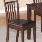 Set of 2 Capri dinette dining chairs with leather seat in Mahogany. SKU: EWCDC-MAH-LC2