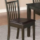 Set of 4 Capri dinette dining chairs with leather seat in Cappuccino. SKU: EWCDC-CAP-LC4
