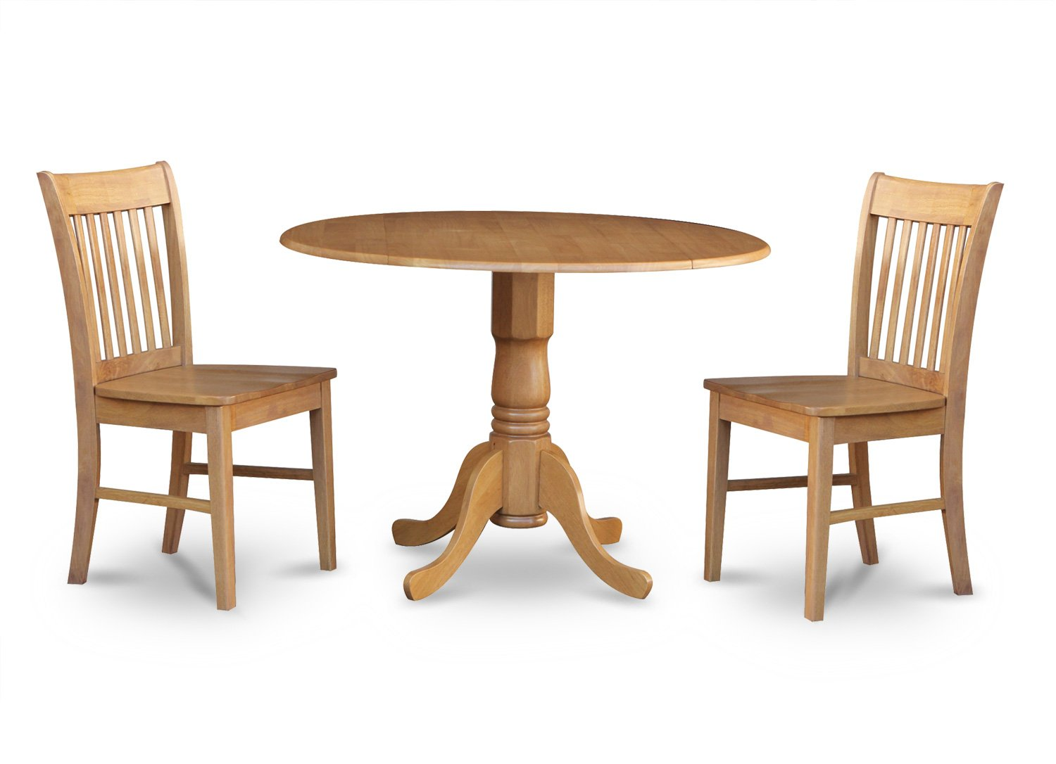 3pc dublin kitchen set round table drop leaf 2 norfolk for Round kitchen table sets with leaf