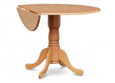 "42"" Round Dublin drop-leaf pedestal kitchen table without chair in light oak SKU# DLT-OAK-TP"
