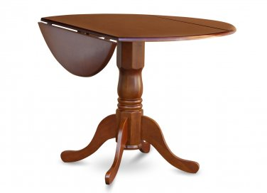 "42"" Round Dublin drop-leaf pedestal kitchen table without chair in saddle brown SKU# DLT-SBR-TP"