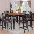 7pc Chelsea Kitchen Counter Height Table w/6 Leather Seat Chairs in Black & Cherry, SKU: CH7-BLK-LC