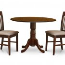 3PC kitchen Dublin round table drop leaf + 2 Norfolk upholstered chairs in mahogany. SKU: DNO3-MAH-C
