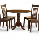 5PC Dublin round table w/ drop leaf + 4 Capri wood seat chairs in mahogany. SKU: DCA5-MAH-W