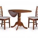 3PC Dublin round table w/ drop leaf + 2 Milan cushion chairs in saddle brown. SKU: DM3-SBR-C