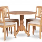 5PC Dublin round table w/ drop leaf + 4 Avon cushion chairs in oak. SKU: DAV5-OAK-C