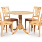 5PC Dublin 42&quot; round table w/ drop leaf + 4 Avon wood seat chairs in oak. SKU: DAV5-OAK-W