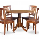 "5PC Dublin 42"" round table w/ drop leaf + 4 Avon wood seat chairs in saddle brown. SKU: DAV5-SBR-W"