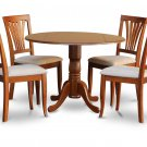 "5PC Dublin 42"" round table w/ drop leaf + 4 Avon cushioned chairs in saddle brown. SKU: DAV5-SBR-C"